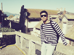 Anibal Lara - Black/White Stripes Shirt, Calvin Klein Sunglasses - Prisoner of Alcatraz