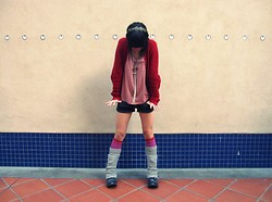 Josephine Chang - H&M Assorted Accessories From Forever 21 And, Target Red Knit Sweater, H&M Dusty Pink Top, Forever 21 Grey Athletic Shorts, Forever 21 Pink Knee Highs, Grey Legwarmers, Forever 21 Black Combat Boots - We Belong Together