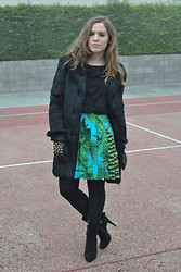 Elena V. - Mango Top, Versace Skirt, Vintage Coat, Zara Gloves, Cuplé Booties - Versace for H&M: The look