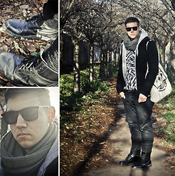 Benjamin Metz - Short Black Coat, Circle Scarf, Cheap Monday Tote Bag, Weekday Sunnies, Dr. Martens Doc, Legwarmers, Black Denim, Thin Leather Belt, H&M Versace For Tee, Zip Hoodie - JUST ONE PIECE OF VERSACE.