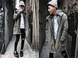 Nick Lai - Zara Knitted Caps, H&M White T Shirt, Vintage Military Coat, H&M Denim Shirt, Tastemaker 達新美 Creepers - 291111 / The boys of winter