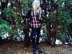 AMY W - Vintage Fur Wrap, Second Hand Flannel, Target Leather Moto Jacket, Refuge Ripped Jeans, Zoe Harness Ankle Boots - MK inspired my Monday