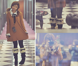 Kaila Ocampo - Omiya Lolita Inspired Onepiece, Omiya Furry Boots, H&M Black Tights - Omotesando Lights