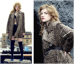 Meg C - Calvin Klein Coat, American Apparel Bra Top, H&M Skirt, House Of Holland Stockings, Urban Outfitters Shoes - Leopard coat