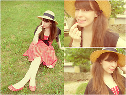 Clemence Sarily C. - Claire's Bow Hairclip, Red Polka Dot Dress, Straw Hat, Black Bolero, Red Polka Dot Ballerina - Cherry