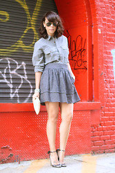 Delmy Rivera - J.Crew Men Shirt, Aqua Skirt, D&G Metallic Pumps - Red Brick Wall