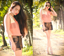 Wicked Ying - Visit My Blog For More: Http://Wickedying.Com/, Pinkaholic Top And Shorts, Forever 21 Accessories - Look 238: Golden Peach