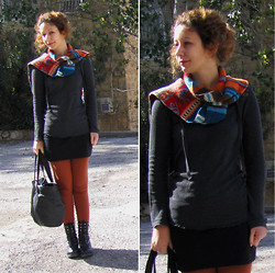 Ori Schneider - Fox T Shirt, Vintage Scarf, H&M Basic Skirt, Racheli Brown Tights, Gazit Boots, H&M Bag - Scarf