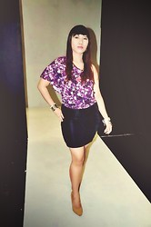 Madeline Camille Agustin - Bebe Purple Assymetrical Top, Black Bodycon Skirt, Forever 21 Nude Patent Pumps, Accesorize Bangle - Symmetry and proportions