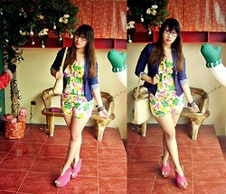 Madeline Camille Agustin - Zara Blazer, Topshop Floral Romper, Moxy Bag, Asianvogue Red Booties - When Spring meets December
