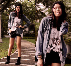 Dana Lee - H&M Beanie, Denim Jacket, H&M Leather Shorts, Topshop Shirt, Dr. Martens Dms - LET THE NOISE BURN THROUGH YOUR HEAD
