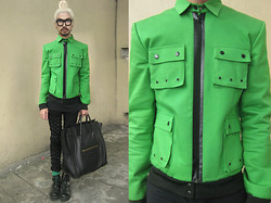 Andre Judd - M Barrretto Tailored Military Bomber, Chunky Eyewear Frames, Black Tee, Lace Up Trousers, Bondage Booties, Céline Celine Luggage - MILITARY KERMIT