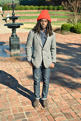 Zachary Gray - Ralph Lauren Tweed Blazer, A.P.C. New Cure, Bass Suede Longwings, Thrift Store Knit Hat, H&M Shawl Collar Sweater - Shawl