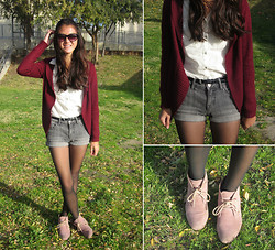 Lucy V. - Forever 21 Maroon Cardigan, Bdg Grey Denim Shorts, H&M Basic Button Up, Mossimo Khadeja Suede Bootie, American Eagle Cat Eye Sunglasses - Gone With The Wind