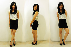 Alix Reyes - Gh Black Bodycon Skirt, Gh Sheer Blouse, Forever 21 Black Pumps - Black and Bows