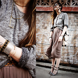Laura Ellner - Lulu Frost Letter Necklace, Topshop Sweater, Nasty Gal Skirt, Zara Heels - L is for...