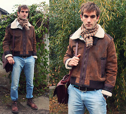 Szilard Brasnyo - Vintage Scarf, Brown Leather Aviator Jacket, Joop Leather Belt, Zara Jeans, Vintage Leather Bag, Reno Boots - Fourty's pilot high in the sky,hidden in your smile