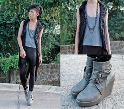 Brian Evalle - Thrift Shop Buckle Shoes, Topshop Gray Tank Top, Diy By Paris Roxas Fur Vest, Thrift Shop Dotted Leggings - Buckle Down