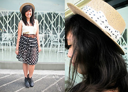 Jessica Kairuz - Bangkok Straw Hat, Hurley Tank Top, Thrifted Sheer Skirt - Hi.