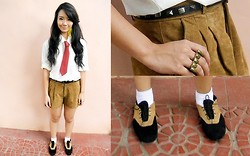 Izumi Nagai - Bazaar Button Up Shirt, Forever 21 Brown High Waisted Suede Shorts - Little Miss Squarepants