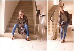 Peti Szendei - Giorgio Armani Leatherjacket, Bree Leather Shoulderbag, Zara Classic Jeans, H&M Leatherette Shoes, Bershka Leopard Print Shirt - Let's be a leopard today