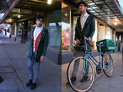 Jo Zepeda - American Apparel Windbreaker, H&M Caridgan, My Dad's Shirt, Levi's® Jeans, Ymc Shoes - Tucson Street