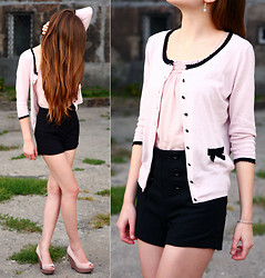 Ariadna M. - H&M Cardigan, Pale Pink Top, Asos High Waisted Black Shorts, Asos Pink Wedges, Apart Silver Bracelet, Apart Silver Earrings - Now i know...