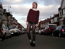 Ava S - White Shirt, Primark Maroon Sweater, Vintage Fair Leather Shorts, Tuk Creepers! - Incandescent Kids