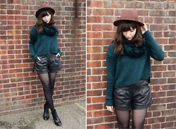 Sarah B - Chunky Knit Jumper, Plaid Scarf, Faux Leather Shorts - Teals & Blacks