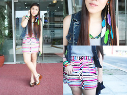 Charmagne Antonette Ramos - Sm Accessories Bangles, Bubbles Ear Cuff, Jellybean Striped Skirt, Greenhills Gray Top, Primadonna Floral Top, Guess? Denim Vest, Jellybean Platforms - SECOND TIME