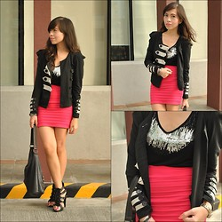Rovie D. - Thrifted Blazer, Random Sequined Top, Pink Manila Bandage Skirt - Bloggers United Outfit