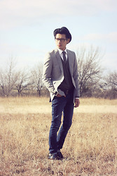 Jeremy Cunanan - Asos Light Gray Skinny Blazer - God Only Knows What We're Fighting For
