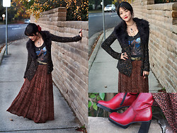 Beneaththeglass . - Thrifted Leopard Print Skirt, Forever 21 Cardigan, Thrifted Tank, Thrifted Boots - Back in the Game