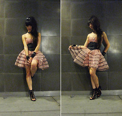 Josephine Chang - Betsey Johnson Pale Pink Tulle Dress, Black Leather Corset, Forever 21 Black Cage Heels, Assorted Accessories From Random Places - Almost believing this was not pretend
