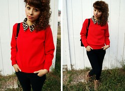 Renee Jane - Forever 21 Black Pants, Forever 21 Ankle Booties, Cheetah Collared Blouse, Rick Owens Red Sweater - Chilly Day