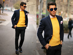 Filippo Fiora - Drumohr Sweater, Caruso Jacket, Tommy Hilfiger Penny Loafers - Yellow Drumohr Sweater