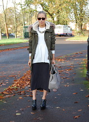 Daniella Robins - Topshop Parka Coat, Cos White Top, Dkny Black Skirt, Jeffery Campbell Shoes - Parka