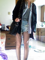 Jess R. - Nasty Gal Lightweight Jacket, Thrifted Button Down, Levi's® Levis, Tank..Diyed, Swarovski Mega Long Black Crystal Necklace That You Cant Even See, Guess? Bag - Layers