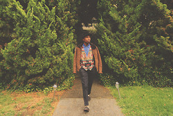 Brandon Chase - Fur And Suede Jacket, Native/Aztec Pattern Vest, Jean Botton Up, Black Trousers, Slip On Loafers, Hunter Fur Hat - Itsbeenawhileyall