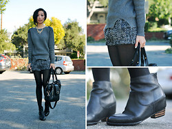 Jenny Ong - Romwe Wool Jumper, A'gaci Boucle Shorts, 80%20 Rina Boots, Melie Bianco Drew Tote - Grayscale