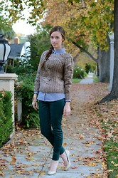 Mara F - Ruche Knit Ombre Sweater, J Brand Jbrand Teal Jeans, Jessica Simpson Nude Heels, J. Crew J.Crew Gingham Button Up - Sugar coated