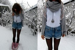 Sandra Børstad - Gina Tricot Scarf, Cubus Top, Vero Moda Cardigan, Calvin Klein Shorts, Thailand Watch, Ugg - The snow has come