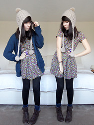 Paige Joanna Calvert - H&M Floral Dress, Primark Blue Knitted Cardie, Primark Wooly Hat, Topshop Blue Socks, New Look Brown Lace Up Boots - This cold weather is making me blue.