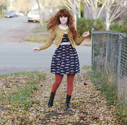 Delightfully Tacky . - Modcloth Cardigan, Vintage Top, Target Tights, Target Boots, Modcloth Dress - Autumn colors