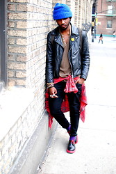 Kadeem Johnson - Vintage Jacket, Doc Marten Shoes, American Apparel Shirt - Red Bottoms