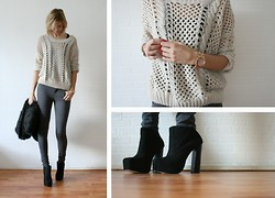 Sietske L - Romwe Open Knit, Michael Kors Watch, Free People Heels - She doesn't mind.