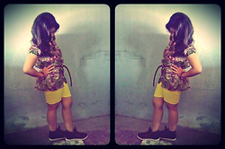Tania Bonita - Brown Belts, Vans Black Shoes, Batik Clothes, Yellow Shortpants - Batik casual of shine