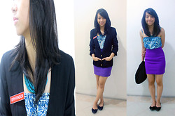Alix Reyes - Abuu Purple Skirt, Forever 21 Floral Top, Chanel Black Blazer, Posh Bow Tie Flats - Love on Top