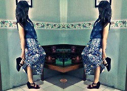 Tania Bonita - Long Dress Batik, Black Bludru Wedges - Batik Indonesia