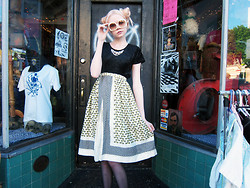 SAM ADAMS - Black Velvet Dress (Worn As A Top), Yellow Taxi Cab Skirt - ♡ Beauty is Pain ♡
